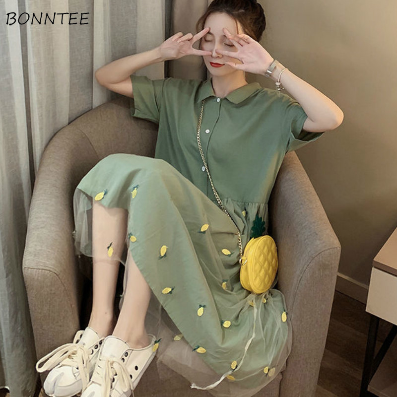 Dress Women Solid A-line Mesh Stitching Green Summer Embroidery Casual Harajuku Sweet Girls Chic Kawaii Womens Dresses Fashion
