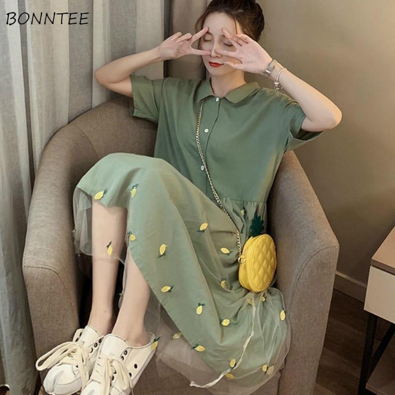 Dress Women Solid A-line Mesh Stitching Green Summer Embroidery Casual Harajuku Sweet Girls Chic Kawaii Womens Dresses Fashion