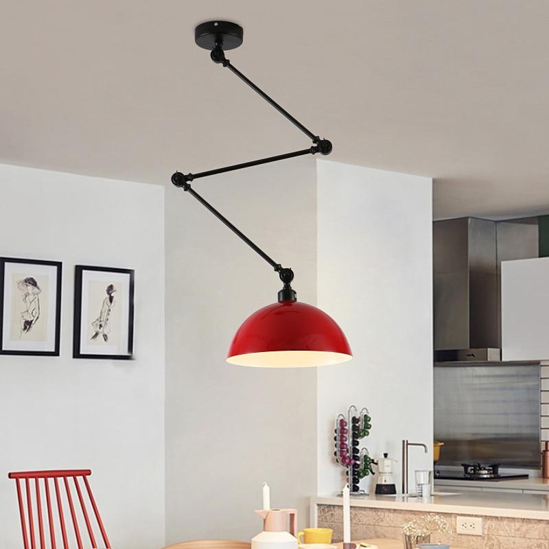 Design nordique réglable bras Long suspension en Aluminium appliques LED plafond suspension lampe pour salon chambre salle à manger - 2