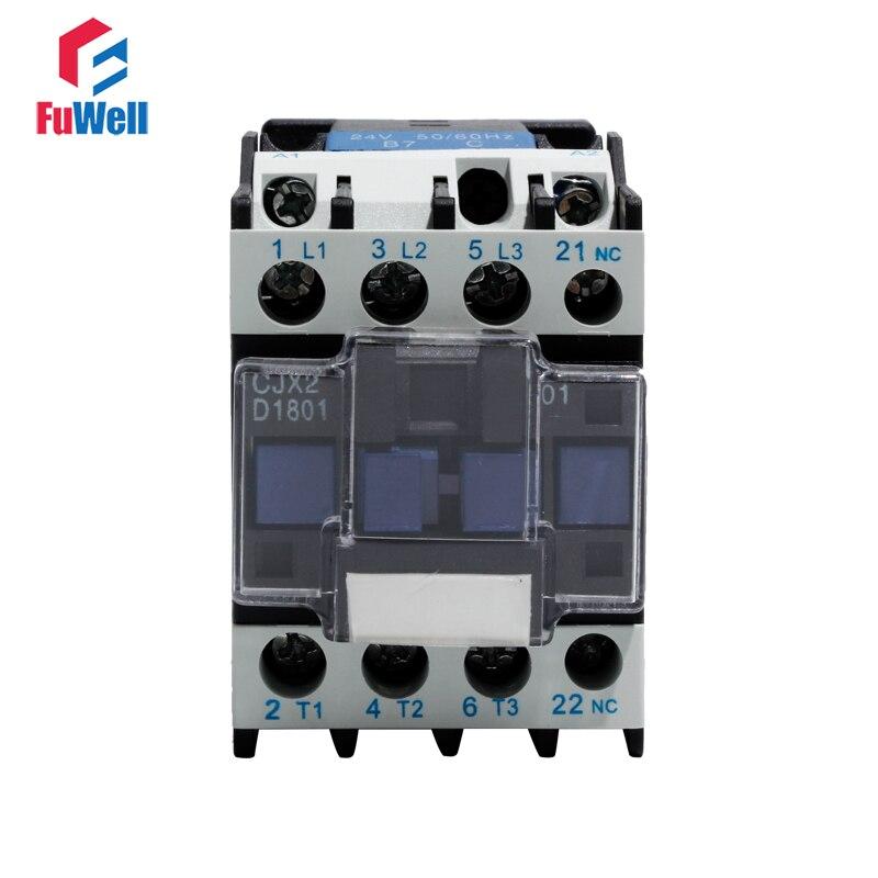 CJX2-1801 AC Contactor NC Normal Closed 18A Alternating Current Contactor 24V 36V 48V 110V 220V 380V Coil Voltage Contactor