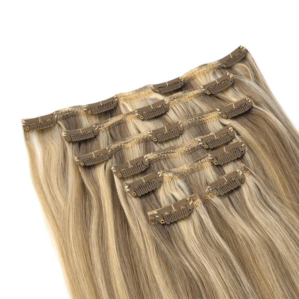 K.S WIGS 20'' 110g Remy Clip In Human Hair Natural Straight Double Drawn Human Hair Clip Ins 7pcs/set Ombre Color