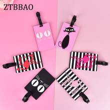 Animal Cartoon Flamingo Luggage Tag Travel Accessories PU Leather Suitcase ID Address Holder Baggage Boarding Tag Portable Label
