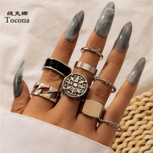 Tocona 8pcs/sets Vintage Silver Color Round Joint Ring for Women Black Hollow Geometric Shiny Crystal Stone Jewelry 10017