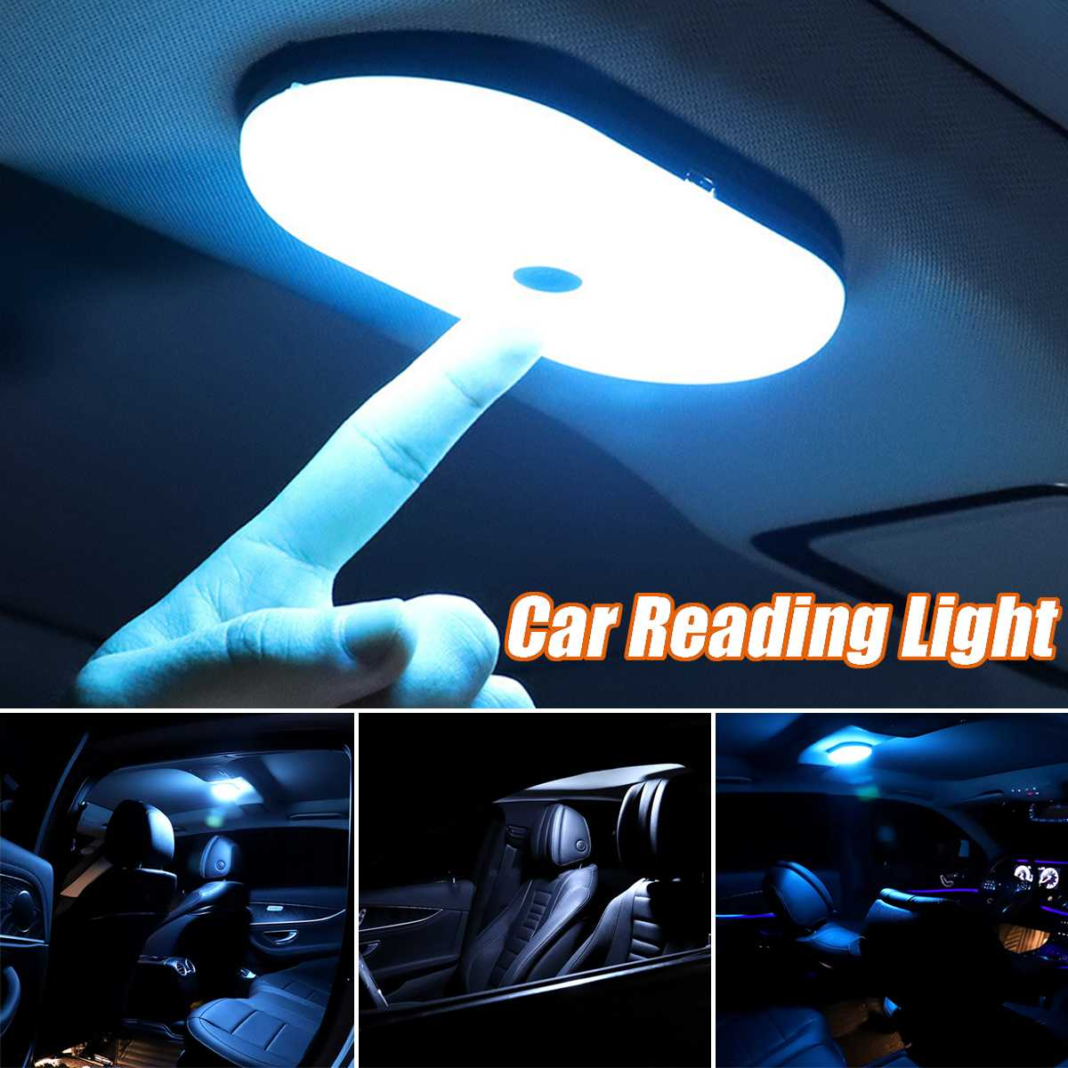 LED Automobile Car Interior Reading Light Dome 3 Light Color Changing USB Charging Roof Ceiling Magnet Lamp Night Light