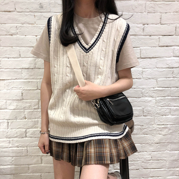 3 colors 2019 autumn and winter preppy style v neck knitted sleeveless vest sweaters womens pullovers (X973) - discount item  20% OFF Sweaters