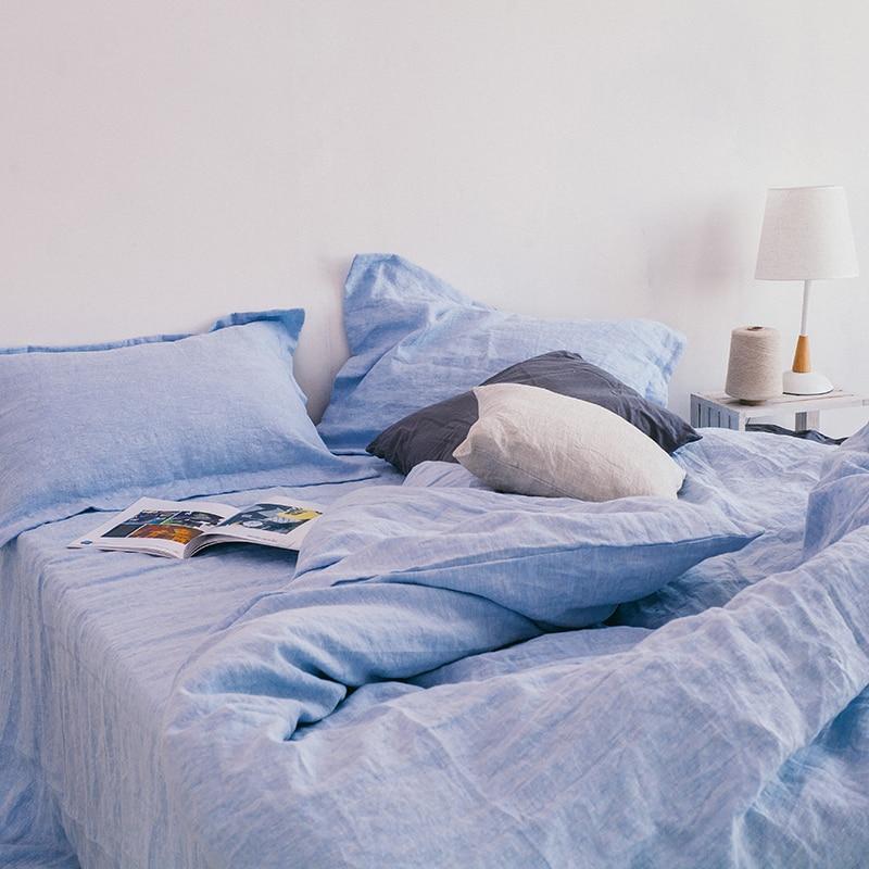 100% linho céu azul água esfregando fio tingido luxuoso customizável tamanho 4 pçs conjuntos de cama hotel americano - 2