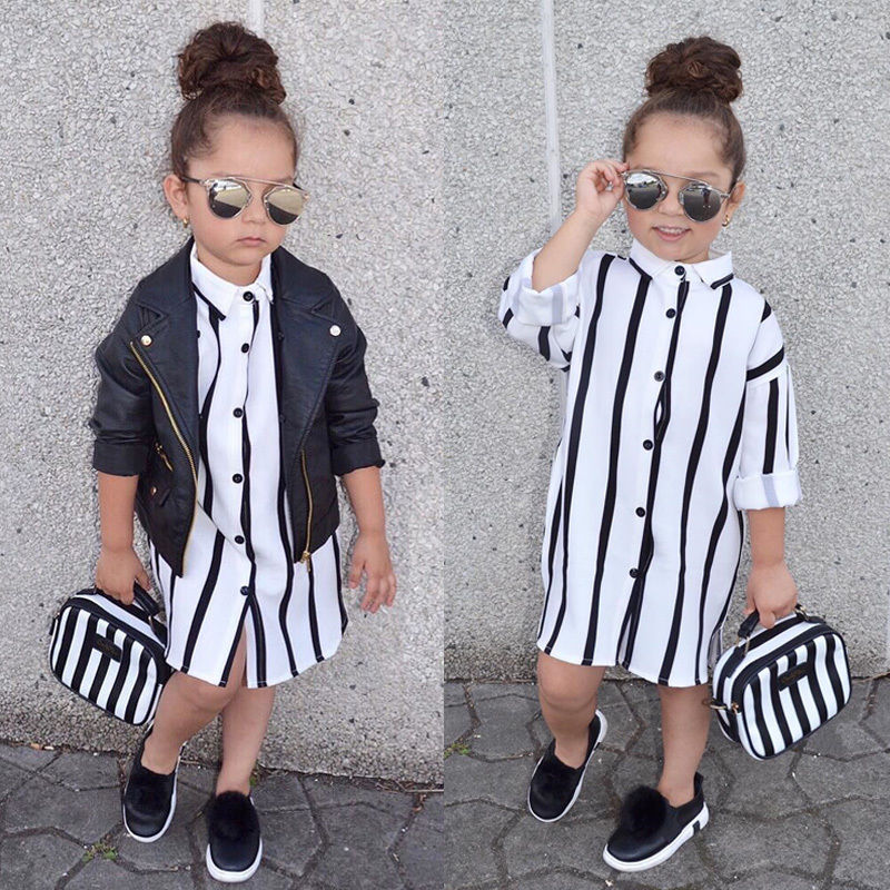 Fashion Girl Striped Toddler Kid Dress Long Sleeve Buttons Shirt Dresses Clothes