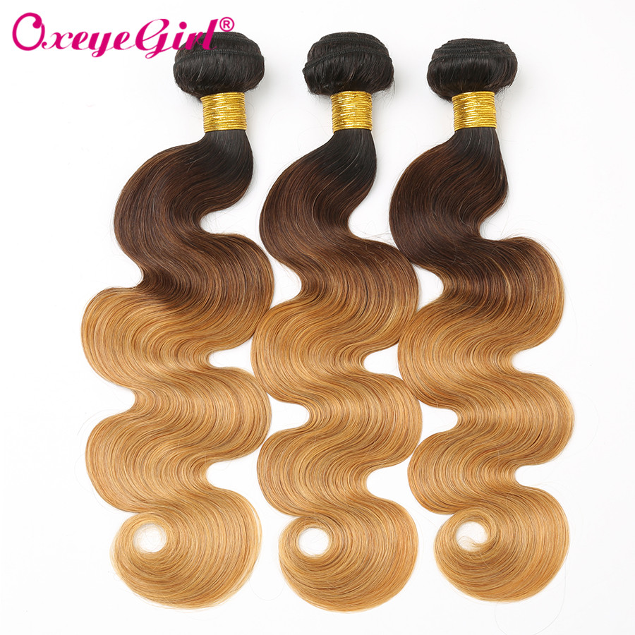 Ombre Brazilian Hair Weave Bundles Body Wave 3 Bundles Deal Non Remy Hair ExtensionT1B/4/27 Ombre Human Hair Bundles Oxeye Girl