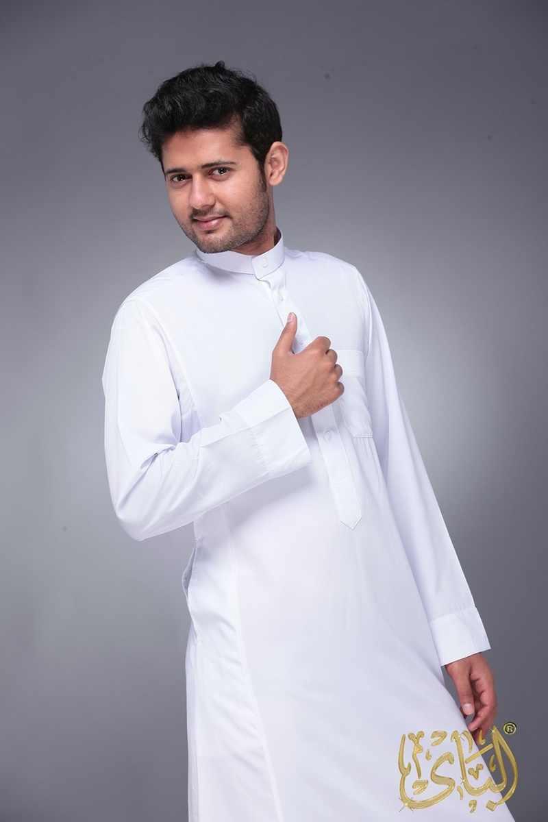 בגדים אסלאמיים גברים אורך ארוך שרוול Loose מוסלמי גברים ערב הסעודית פקיסטן וקורטה מוסלמי תחפושות מוסלמי שמלת קפטן Thobe
