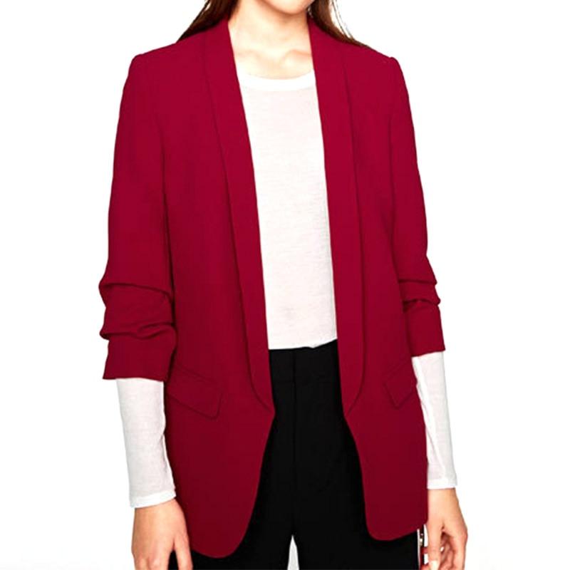 S-L Fashion Blazer For Women Ruffled 3/4 Sleeve Cardigan Pleated Solid Color Pocket Blazer