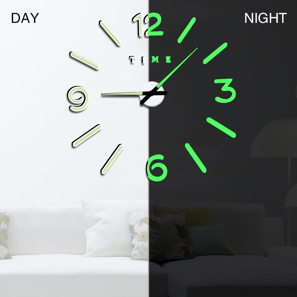 Wall Clock Modern Design Watch Digital Large Big 3D DIY Home Decor Luminous Luminova Mirror Sticker