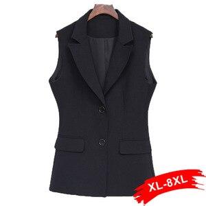 Женский элегантный черный жилет больших размеров 4Xl 5Xl 7Xl, офисное Женское пальто без рукавов с карманами, верхняя одежда Colete Feminino
