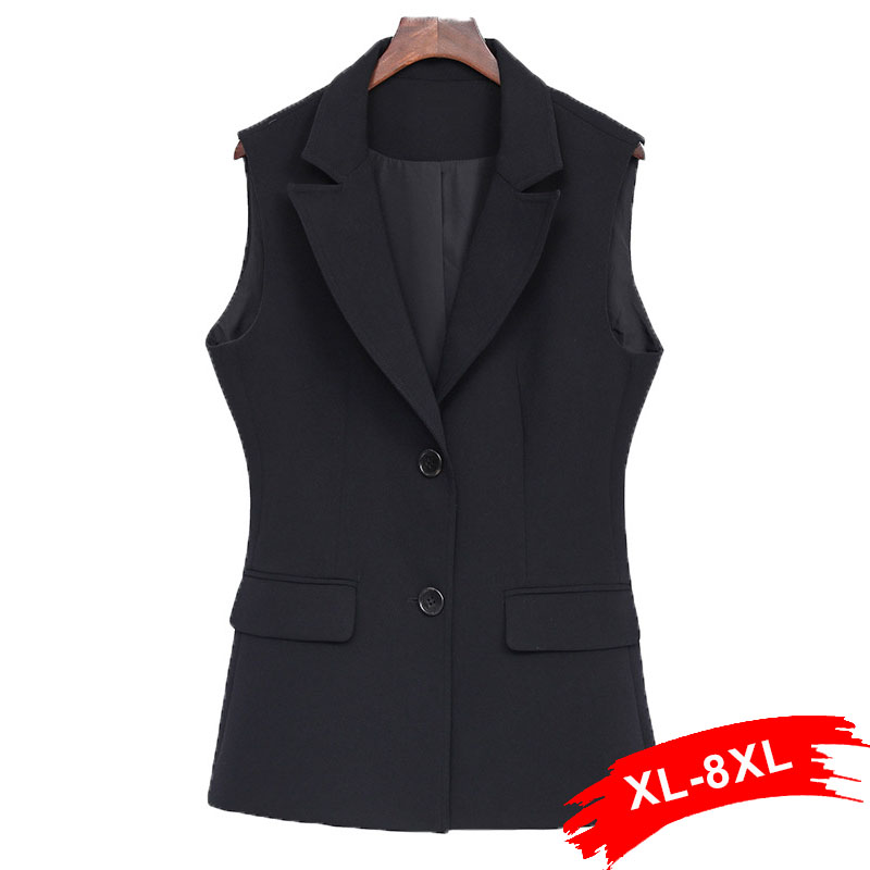 Women Plus Size Elegant Single Breast Black Vest 4Xl 5Xl <font><b>7Xl</b></font> Office Lady Sleeveless Pocket <font><b>Coat</b></font> Colete Feminino Outwear image