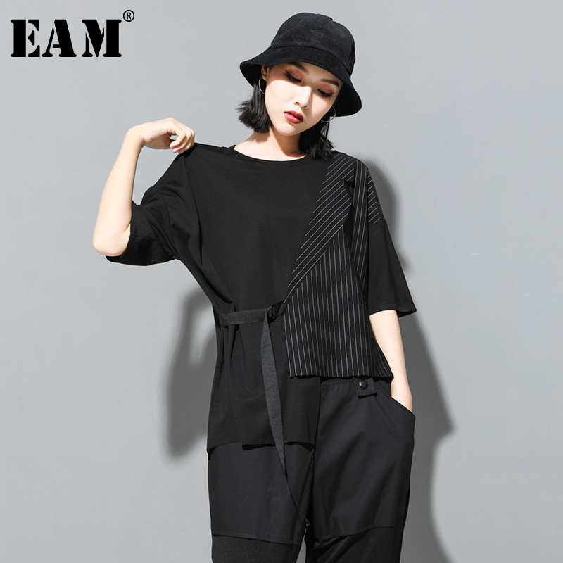 [EAM] Women Black Striped Asymmetrical Big Size T-shirt New Round Neck Half Sleeve  Fashion Tide  Spring Summer 2020 JT230 1
