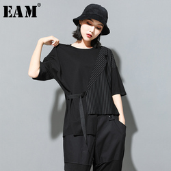 [EAM] Women Black Striped Asymmetrical Big Size T-shirt New Round Neck Half Sleeve Fashion Tide Spring Summer 2021 JT230