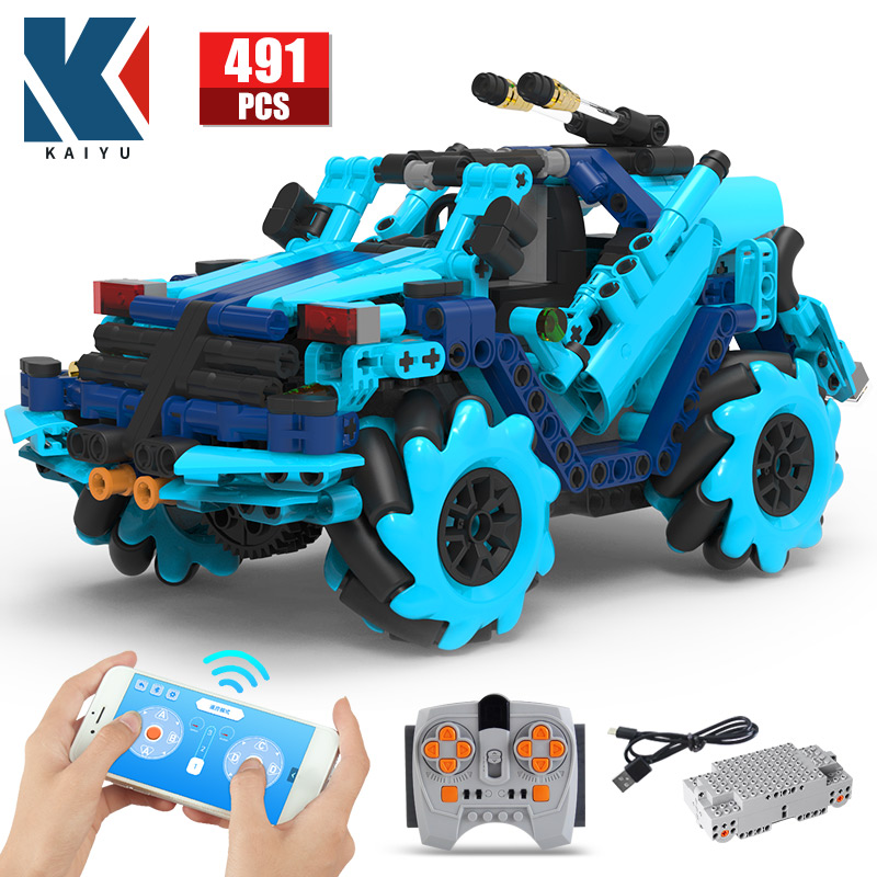 KAIYU 4WD City Offroad Electric APP Remote Control Racing Car Building Blocks Creator Technical RC Vehicle Bricks Toys For Boys