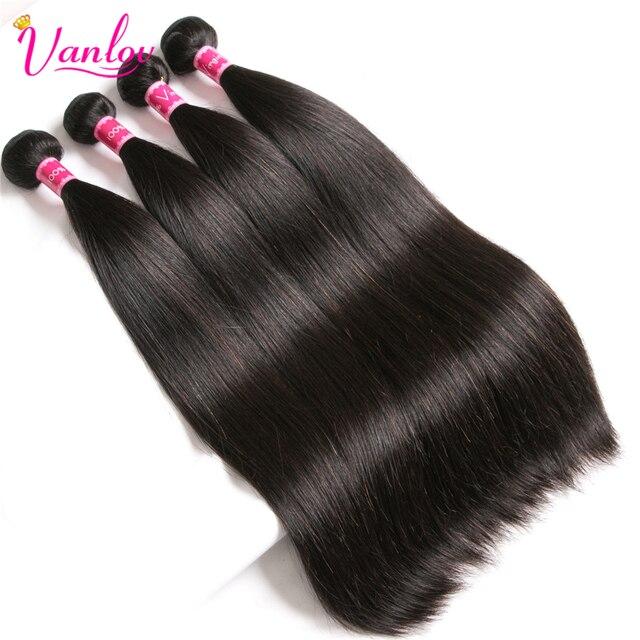 Vanlov-mechones de cabello humano liso brasileño postizo negro Natural, extensiones de cabello humano Remy, 1/3/4 Uds./lote 100%