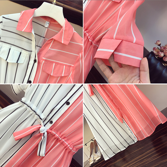 COIGARSAM 4XL Plus Size Chiffon Women dress New Summer Short Sleeve Dresses Red 8004 4