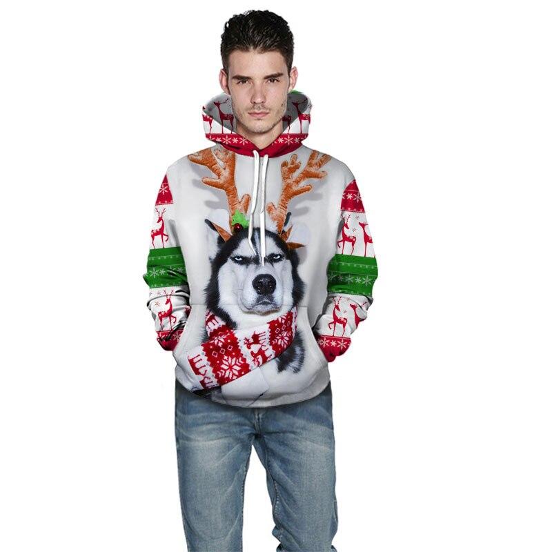 Christmas Men'S Wear Cool Elk Dog 3D Digital Printing Long-sleeved Sweater Teenager Loose-Fit Trend Men'S Wear