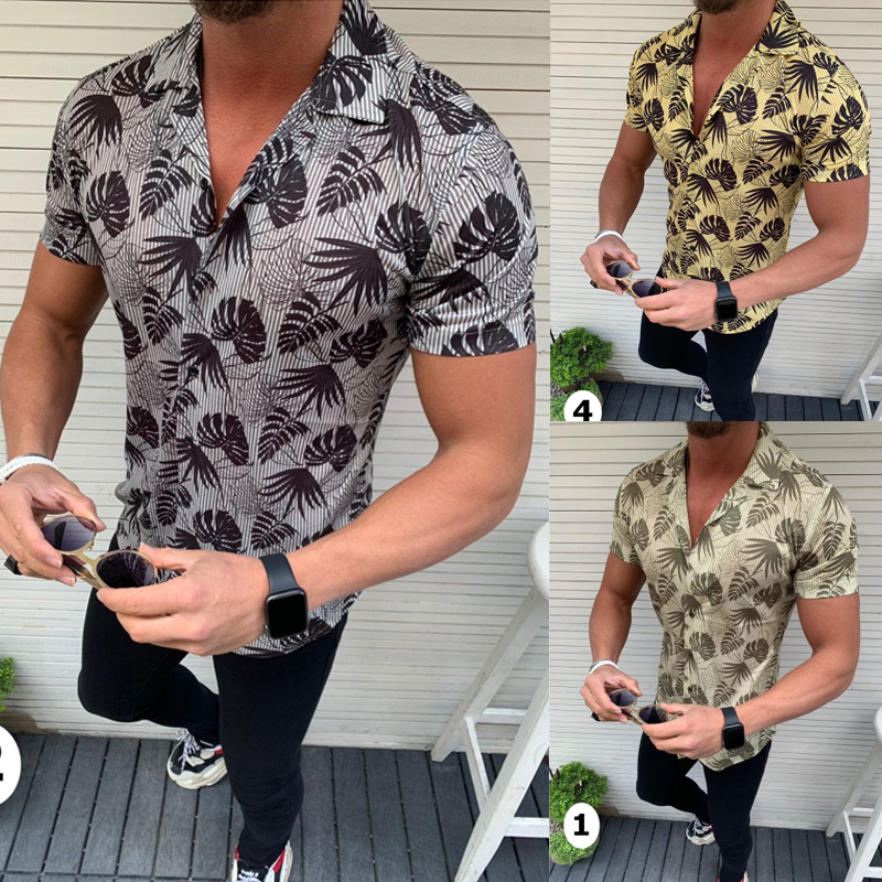 2020 New Men's Slim Fit Flower Printed Shirts Male Short Sleeve Floral Shirt Men Basic Tops Casual Plus Size Shirts