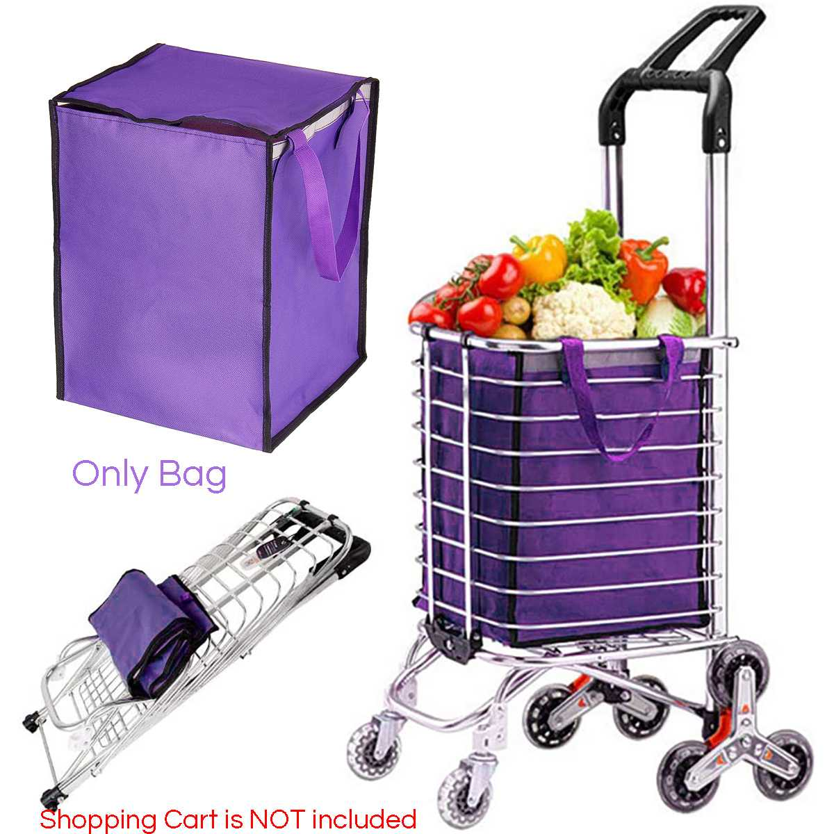 Shopping Rolling Hand Carts Trolley Tote Bag Foldable Pull Behind Grocery Dolly