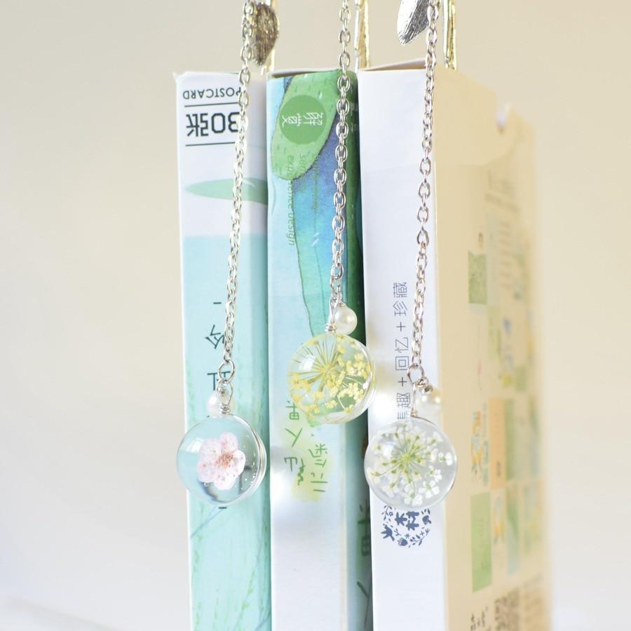 Creative Flower Specimens Bookmark Pendant Metal Book Mark Stationery School Office Supply Escolar Papelaria Teacher Gift