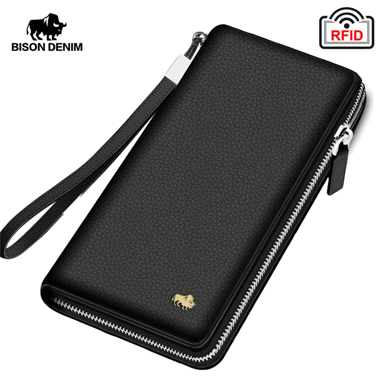 BISON DENIM Brand Genuine Leather Wallet RFID Blocking Clutch Bag Wallet Card Holder Coin Purse Zipper Male Long Wallets N8195