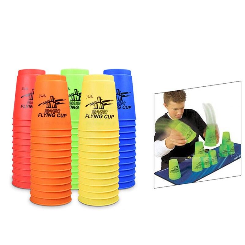 Juego de 12 unidades de tazas mágicas voladoras, tazas de apilamiento deportivas de velocidad, juego de rompecabezas dedicado para entrenamiento, juguetes deportivos competitivos para niños.