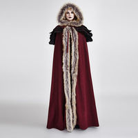 PUNK RAVE Women Cloak Gothic Winter Palace Cosplay Jacket Cape Wool Hooded Callor Sleeveless Long Cloak Cape Coat