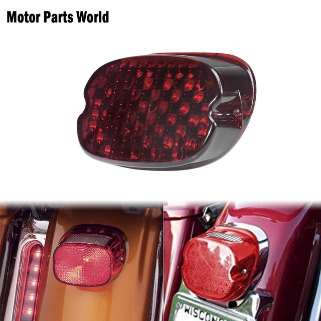 Motorcycle LED Running Tail Light Red Lens Brake License Plate Lamp Rear Stop Lights For Harley Sportster Touring Dyna Softail