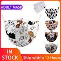 Маски для взрослых моющиеся повторного использования Тканевая маска для лица с милым рисунком кота рот маска от пыли для защиты от дышащая ...