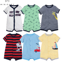 Cotton Jumpsuit Rompers Short-Sleeve Body-Overalls Baby Summer Brand for 0-24M Menino