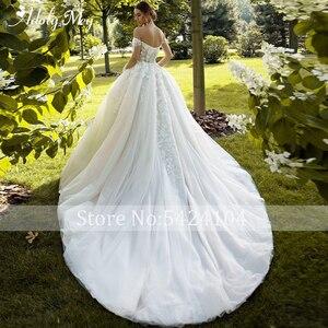 Image 2 - Büyüleyici sevgiliye boyun tam kollu gelin A Line düğün elbisesi 2020 lüks boncuklu aplikler mahkemesi tren prenses gelinlikler