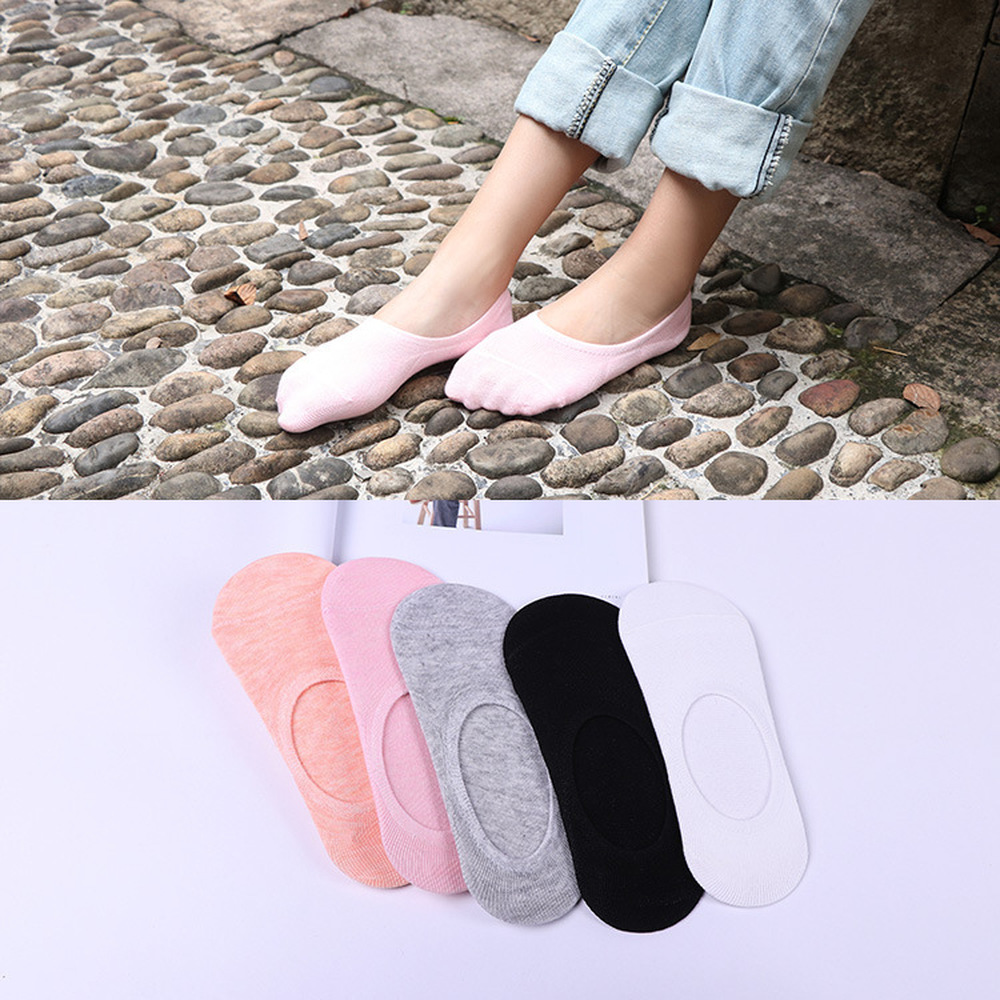 5 пар/лот, женские летние носки, женские носки, японские яркие цвета, силиконовые Нескользящие однотонные незаметные женские носки