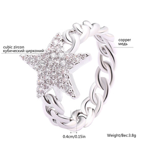 Image 5 - Crystal Star Ring For Women Gold Color Cubic Zirconia Pentagram Rings Party Jewelry Womens Gift Bijoux femme 2020 Wholesale