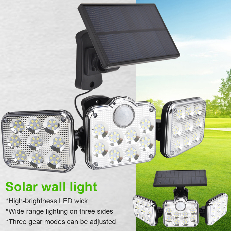 1pc New Three-headed Led Solar Wall Lamp Rotating Separate Solar Garden Lamp Outdoor Body Sensor Lamp Ip65 Waterproof Dropship