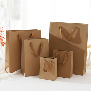 1pc Multi Size Gift Bags Kraft Packaging Handle Paper Storage Bag for Wedding Candy Favor Bag with Handle Gift Bag with Handles