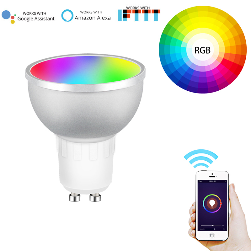 GU10 WiFi Smart LED Light Bulb Dimmable Lamp RGB+C+W 2700-6500k Warm White Daylight Multicolor Work With Alexa Google Home IFTTT