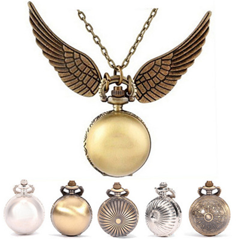 Harri Potter  Golden Wings Snitch Toy Watch Quartz Pocket Watch Necklace Quidditch Balls Snitch Necklace Toys