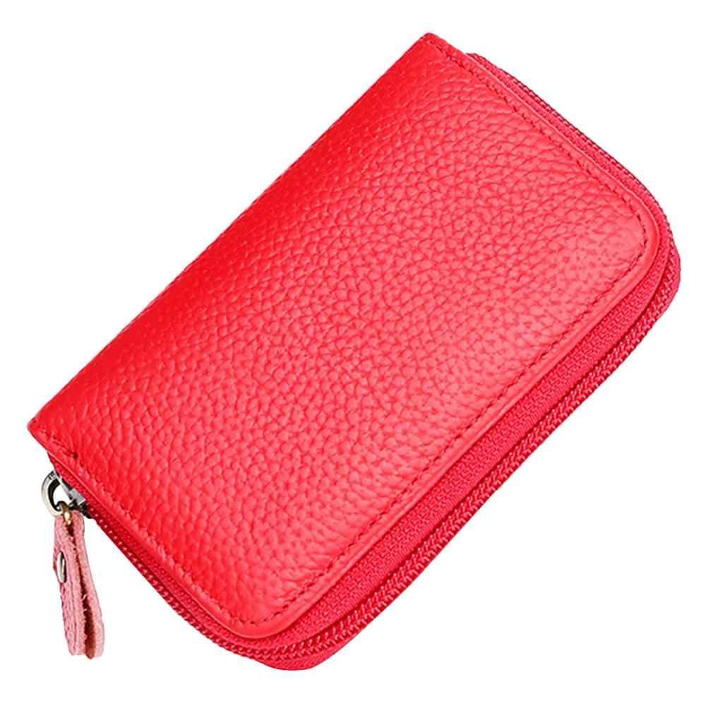 2019 Nova Moda Simples Mulheres Multi-função de porta-Moedas Sacos Zip Caso Pequena Carteira Cartão de Couro Do Couro de Cor Sólida embreagem