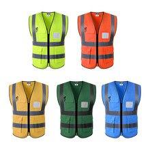 Chaleco de seguridad frontal con cremallera de alta visibilidad Multi bolsillos con tiras reflectantes, Premium, 3 tamaños 5 colores opcionales