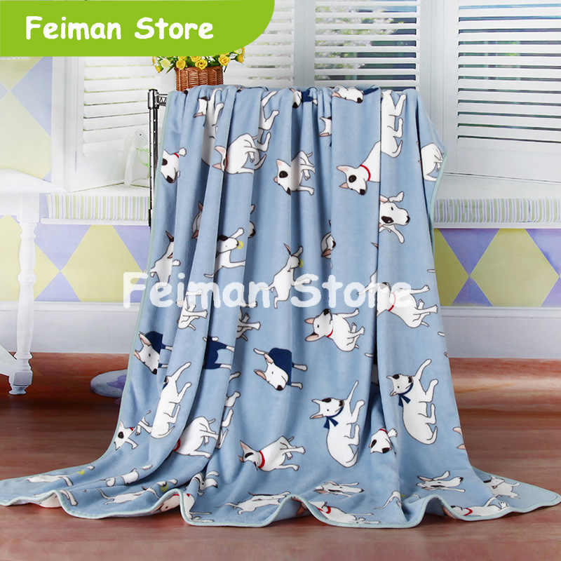 2 different color  Bull Terrier/Polar bear Printed Flannel Fabric blanket also adjust to baby Bed Blanket Cover