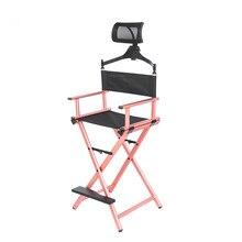 Aluminum Frame Makeup Artist Director's Chair W Adjustable Head Rest Rose Gold Portable Professional Artist Beauty Makeup Chair