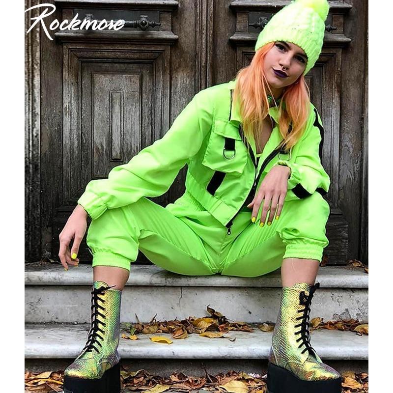 Rockmore Two Pecies Set Women Cargo Jackets Pencil Pants Ladies Sets Joggers Neon Green Coats SweatPants Set Outfits Femme Fall