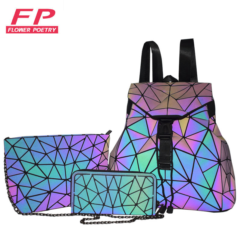 Women Backpack School Foldable Crossbody Bag For Ladies Bag Set 3 Pcs Clutch And Purse Geometric Bag Luminous Color Backpacks