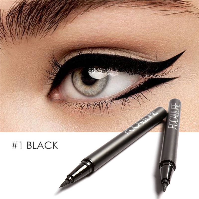 FOCALLURE Liquid Eyeliner Waterproof Long Lasting Black Gel Eye Liner Easy To Wear  Black Eyeliner Pen Women Eye Makeup