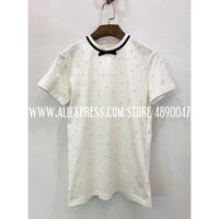 2020 new women's T shirt casual cotton beaded shirt T shirt summer T shirt short sleeved High end delicate handmade top