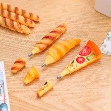 3pcs Novelty bread Pizza Croissant Baguette ballpoint pen Black color ink Magnetic roller ball pens Office School gift A6745 pizza slice ball pens 2 pack