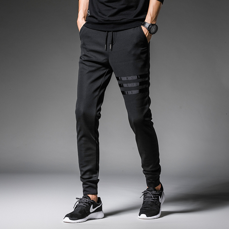 2019 Spring And Summer New Style 3 Article Webbing Three Bars Athletic Pants Casual Pants Skinny Pants MEN'S Trousers K102