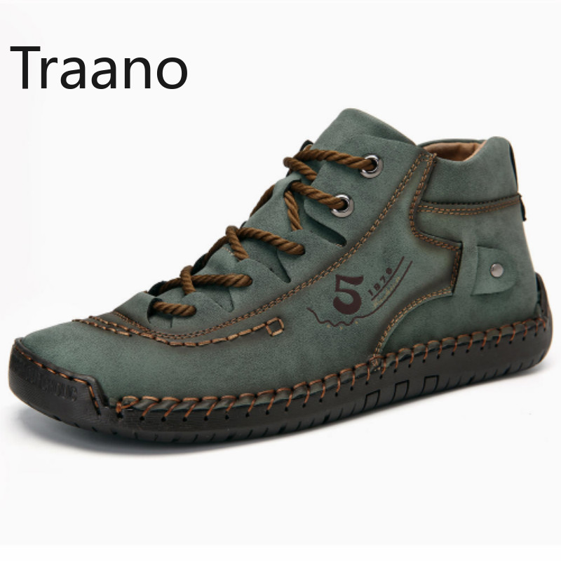 High Quality Shoes Men Casual Leather Non slip Men Shoes Sneakers Flat Boots Men Lace up